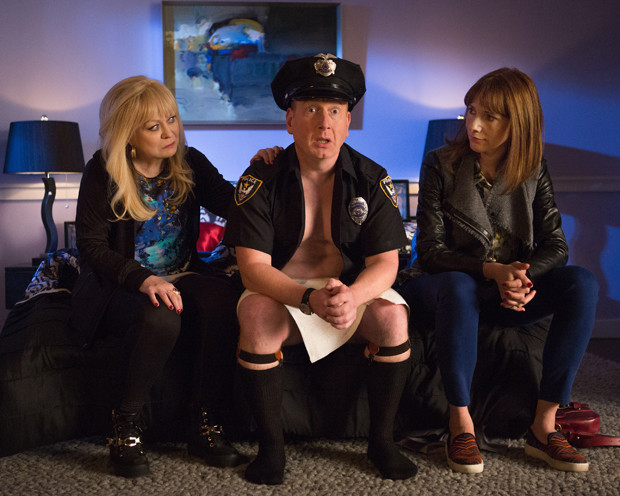 """Jacki Weaver, Adrian Scarborough, and Dolly Wells in a still from """"Blunt Talk"""""""