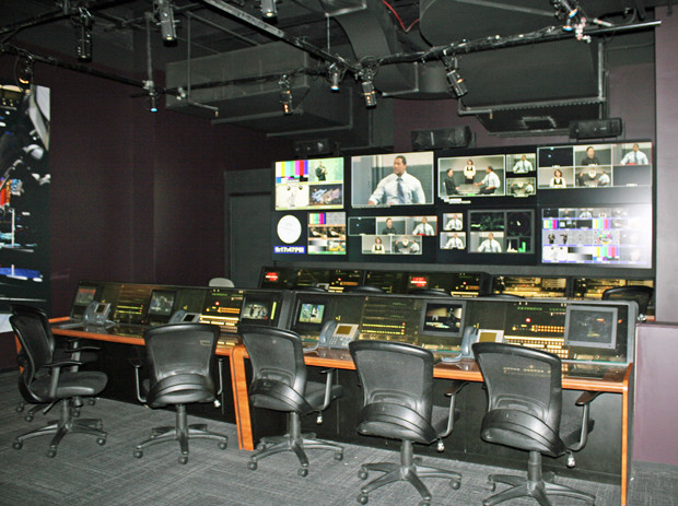 Replica of the SNL control room at Saturday Night Live: The Exhibition | Melanie Votaw Photo