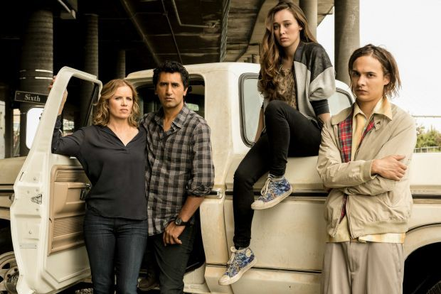 Kim Dickens as Madison, Cliff Curtis as Travis, Alycia Debnam Carey as Alicia and Frank Dillane as Nick | Photo Credit: Frank Ockenfels 3/AMC