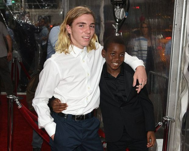 "Guy Ritchie's sons (with Madonna) Rocco and David at the NY premiere of ""The Man from UNCLE"""