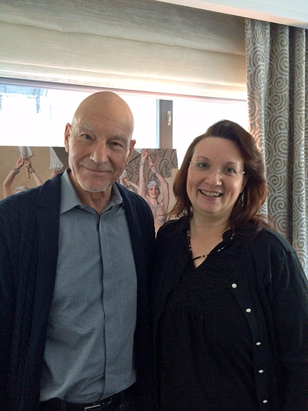 The writer with Sir Patrick Stewart