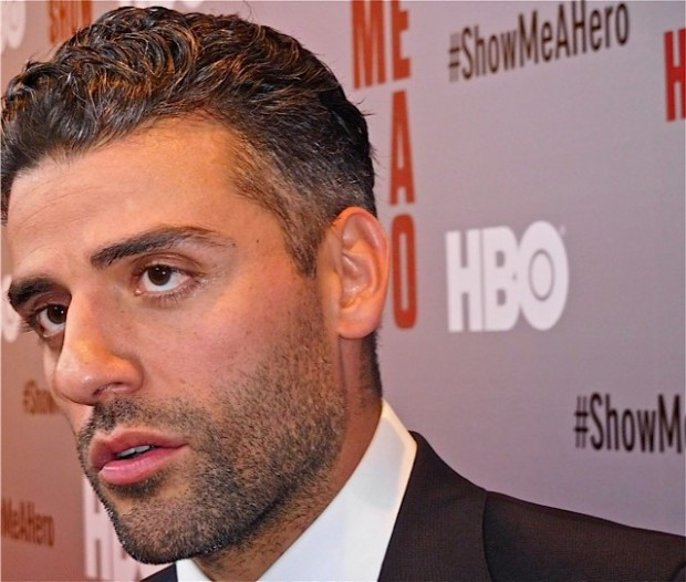 "Oscar Isaac at the red carpet premiere of HBO's ""Show Me a Hero"" 