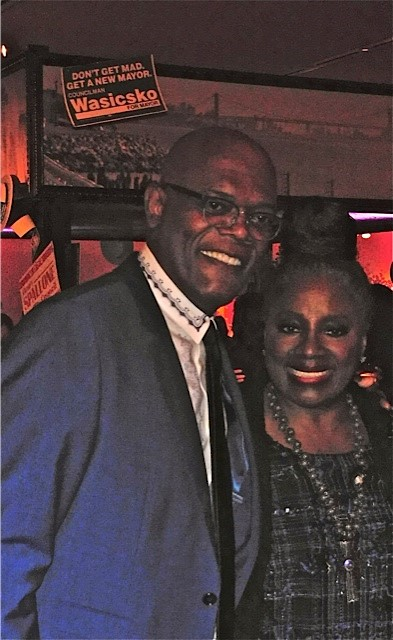 "Samuel L. Jackson and LaTanya Richardson Jackson at the red carpet premiere of HBO's ""Show Me a Hero""   Paula Schwartz Photo"
