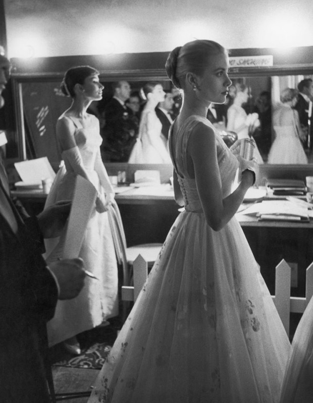 Audrey Hepburn and Grace Kelly, Backstage at the Oscars, circa tk