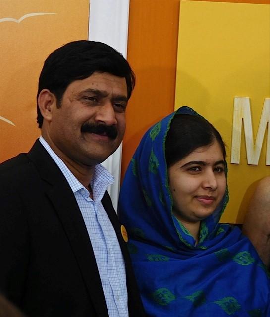 "Malala Yousafzai and her father Ziauddin Yousafzai at the NY Premiere of ""He Named Me Malala"" | Paula Schwartz Photo"