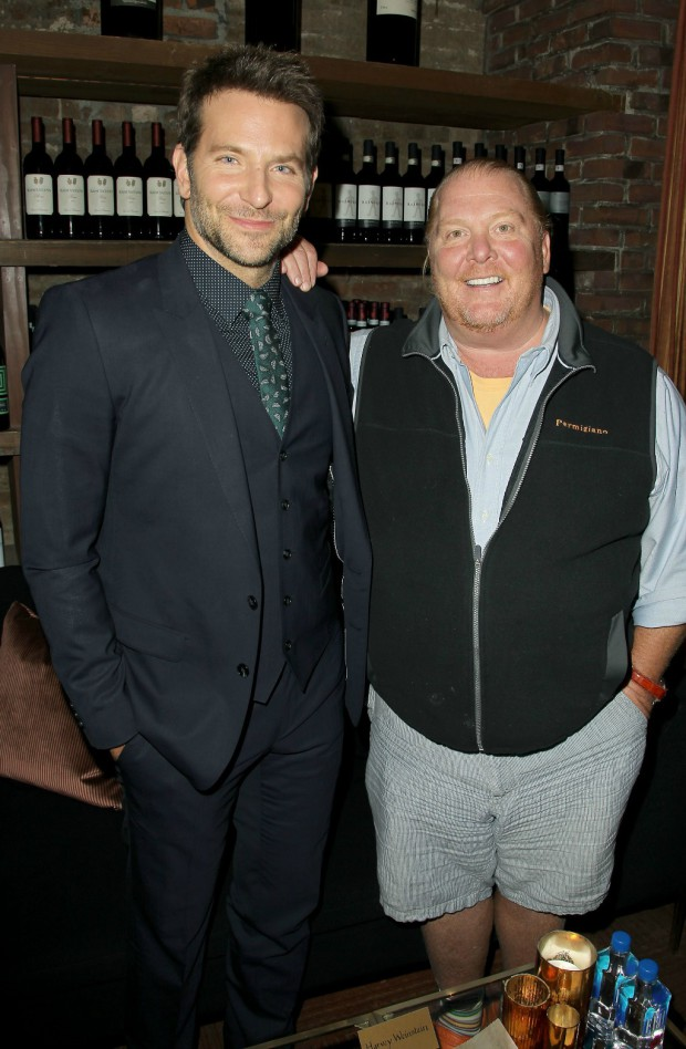"Bradley Cooper and Mario Batali at the ""Burnt"" premiere in NYC 