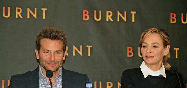 "Bradley Cooper and Uma Thurman at the NY press conference for ""Burnt"" 