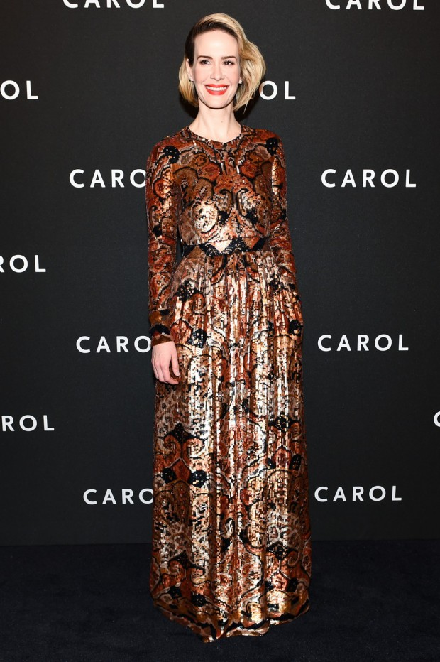"Sarah Paulson on the ""Carol"" red carpet 