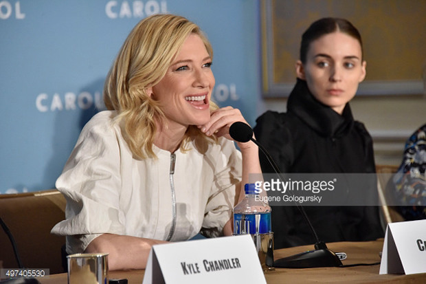 "Cate Blanchett and Rooney Mara at the New York press conference for ""Carol"" 
