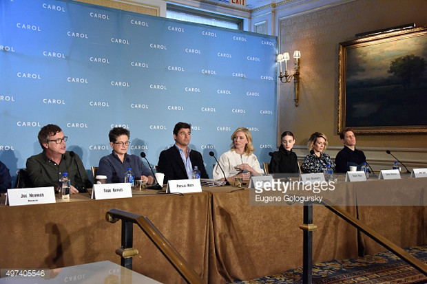"""The cast of """"Carol,"""" along with director Todd Haynes and screenwriter Phyllis Nagy, gather in New York for a press conference 