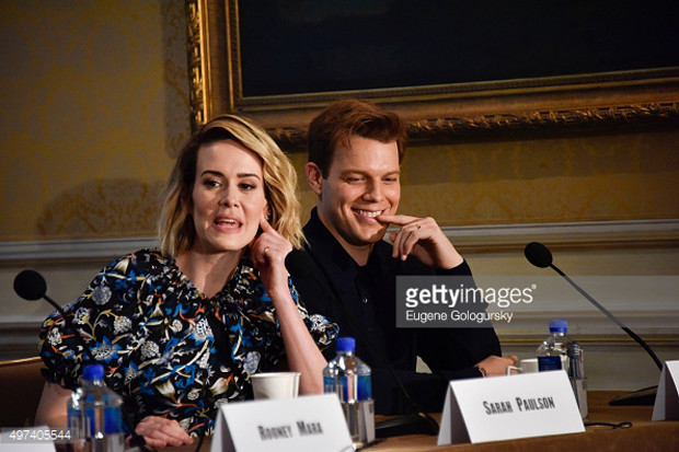 """Sarah Paulson and Jake Lacy at the New York press conference for """"Carol"""" 