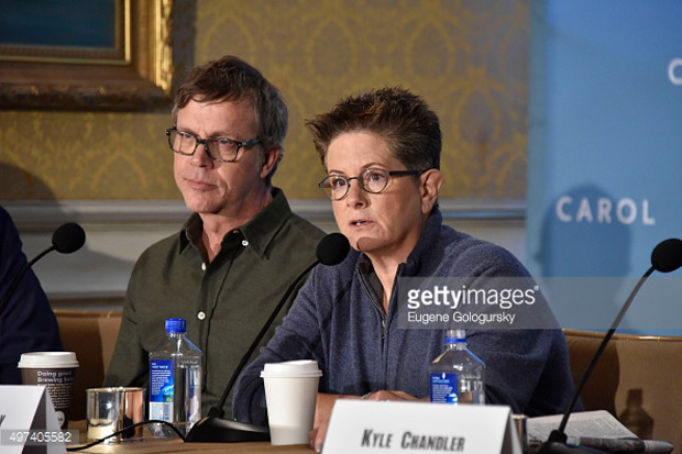 "Todd Haynes and Phyllis Nagy at the New York press conference for ""Carol"" 