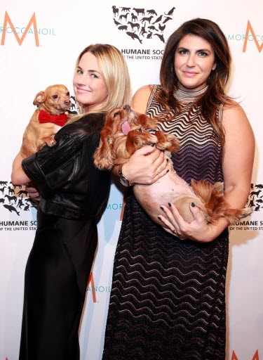 Amanda Hearst and Katie Sturino with newly engaged Finn and Stern | Amy Sussman/AP Images for The HSUS