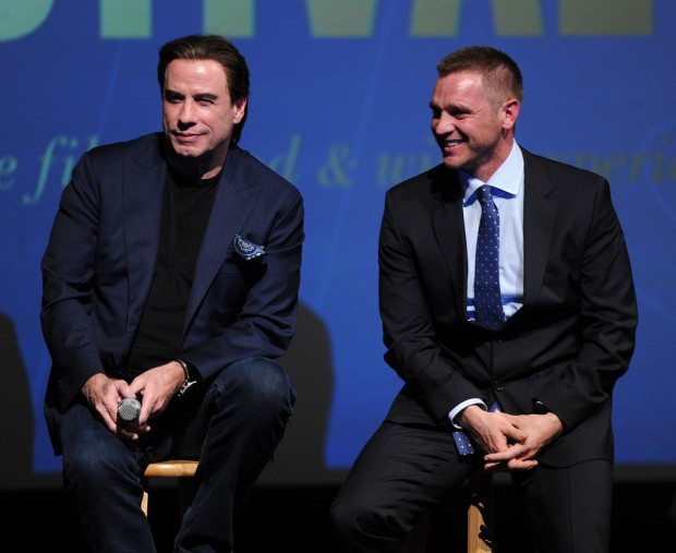 YOUNTVILLE, CA - NOVEMBER 14: John Travolta and Devon Sawa during the Q&A following the world premiere of the film 'Life on the Line' at the 2015 Napa Valley Film Festival at the Lincoln Theatre on November 14, 2015 in Yountville, California. (Photo by Frank Micelotta/PictureGroup)