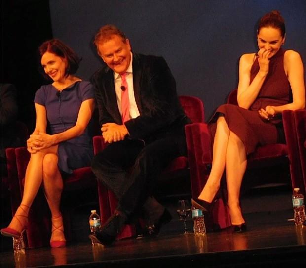 """Downton Abbey"" cast members Elizabeth McGovern, Hugh Bonneville and Michelle Dockery answer questions at a Q&A Dec. 22, 2015 | Paula Schwartz Photo"