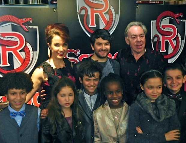 Alex Brightman, Sierra Boggess, Andrew Lloyd Webber and kids at the NYC 'School of Rock' Opening Night | Paula Schwartz Photo