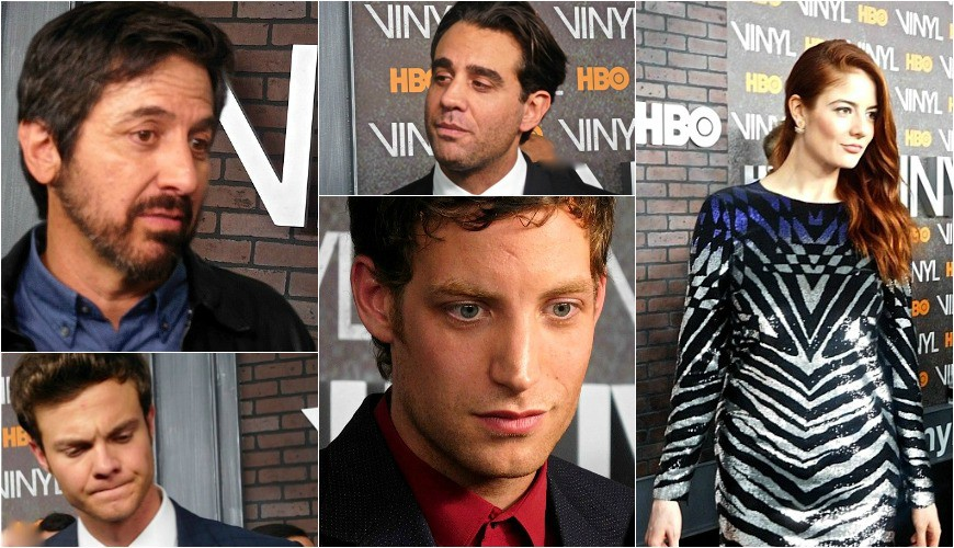 HBO's Vinyl Red Carpet Premiere, clockwise from left: Ray Romano, Bobby Cannavale, Emily Tremaine, James Jagger, Jack Quaid | Paula Schwartz Photo