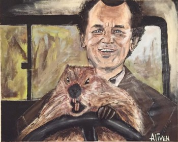 Groundhog Day - Bill Murray and Punxsutawney Phil Fan Art from Instagram; AlivenDesigns