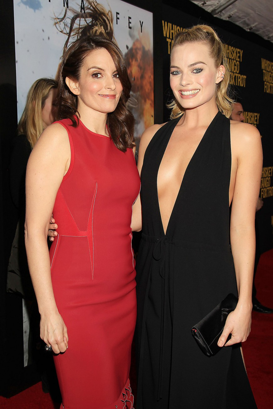 Tina Fey and Margot Robbie at the Whiskey Tango Foxtrot Red Carpet Premiere