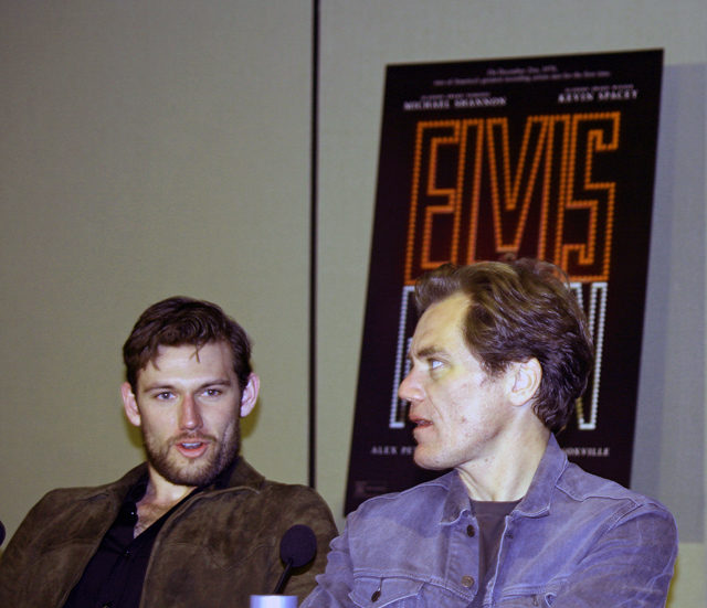 "Alex Pettyfer and Michael Shannon at the ""Elvis & Nixon"" press conference in New York 