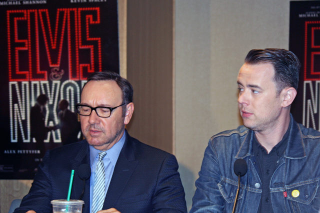 "Kevin Spacey and Colin Hanks at the ""Elvis & Nixon"" press conference in New York 