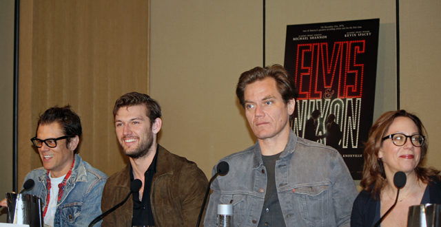 "Johnny Knoxville, Alex Pettyfer, Michael Shannon, and Liza Johnson at the ""Elvis & Nixon"" press conference in New York 
