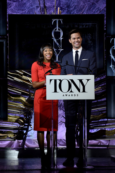 Actress Nikki M James and actor Andrew Rannells announce the 2016 Tony Awards Nominations Announcement at the Paramount Hotel on May 3, 2016 in New York City | Photo by Bryan Bedder/Getty Images for Tony Awards Productions