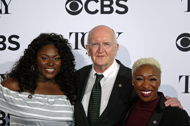 "Director John Doyle poses with Danielle Brooks and Cynthia Erivo of ""The Color Purple"" 