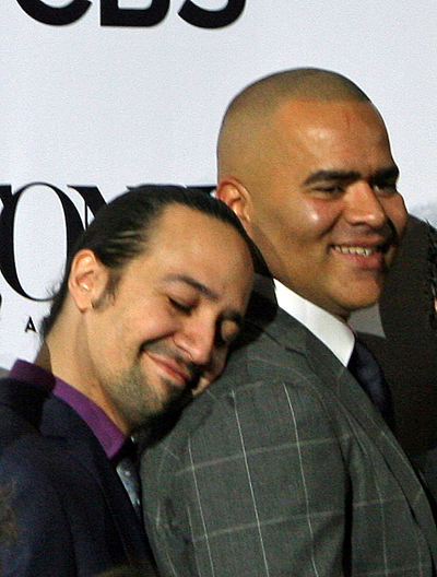 A cute moment between Lin-Manuel Miranda and Christopher Jackson | Melanie Votaw Photo