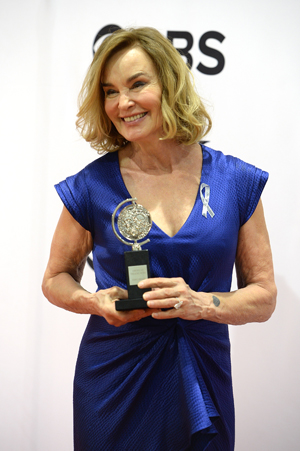 "Actress Jessica Lange poses with her award for Best Performance by an Actress in a Leading Role in a Play for ""Long Day's Journey into Night"" 