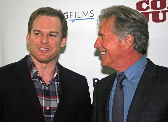 "Michael C. Hall with Don Johnson at the 2014 opening of ""Cold in July"" in New York 